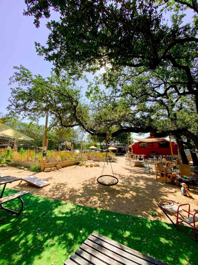 The Hive Coffee outdoor space in south Austin